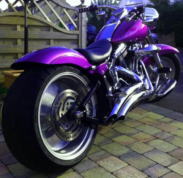 "Harley Fat Boy w/280 rear.........Now that is FAT! I would repaint it ""BLACK"" for my personal taste."