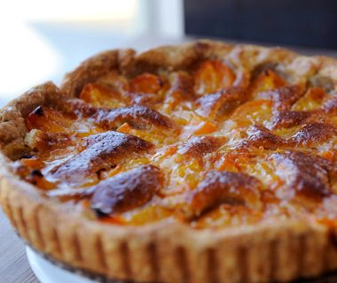 ... tart prepared with plum and frangipane, a sweet paste made from