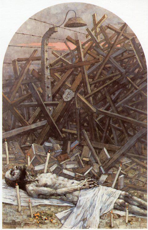 XIV Estación. Cristo es depositado en el sepulcro. Gólgota de Jasna Góra, del pintor polaco Jerzy Duda Gracz