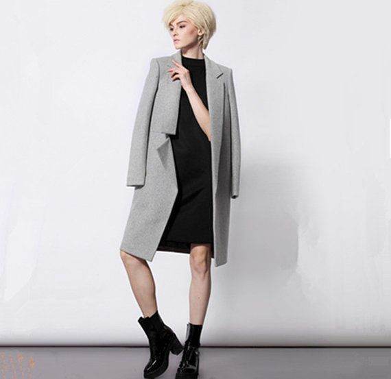 Gray wool coat for women asymmetrical from BWG studios.
