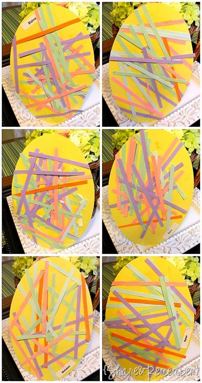 """Shredded paper eggs"" Very cute idea when talking about holidays (Easter) or even spring time."
