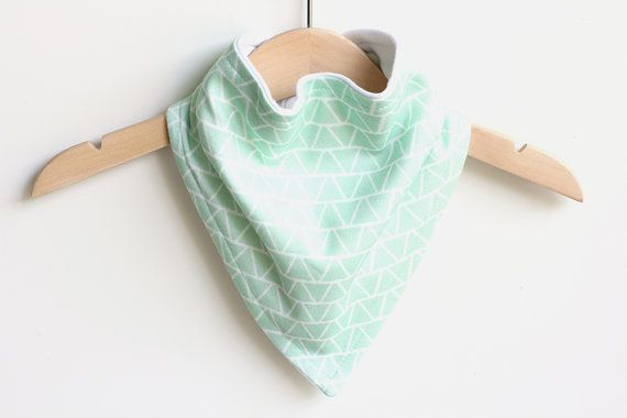 Organic Cotton Baby Bandana Bib  Triangles Mint  by raenne on Etsy, $14.00