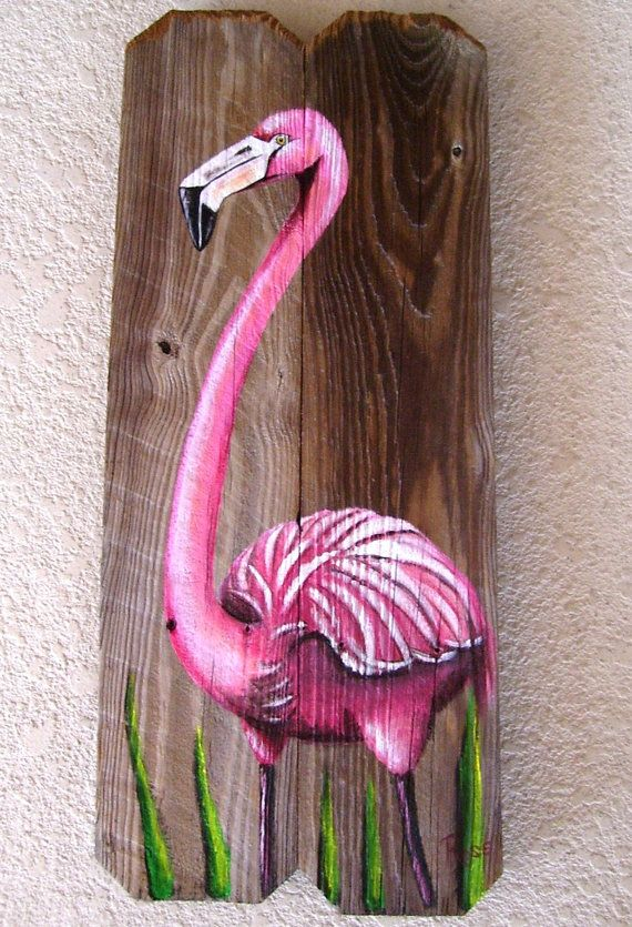Flamingo Hand Painted on Wood Reclaimed Fence Boards or driftwood if large enough