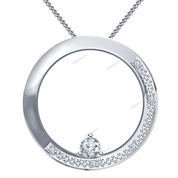 "Free Pouch 14K White Gold Plated Ladies Fancy Design Pendant With 18"" Chain #giftjewelry22 #FancyPendant"
