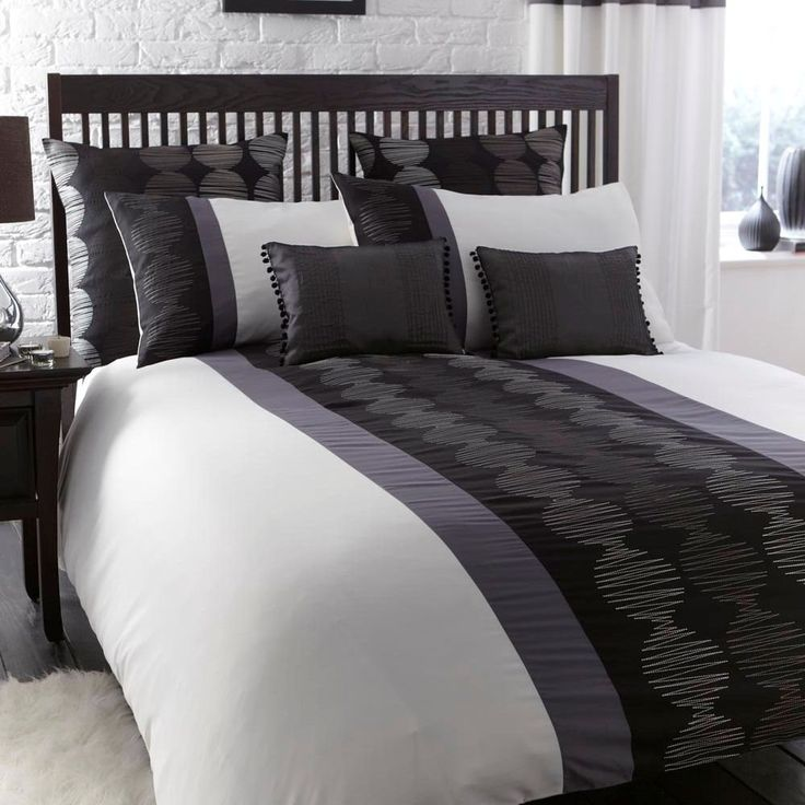 Orbit Black White Grey Modern Embroidered Single Duvet
