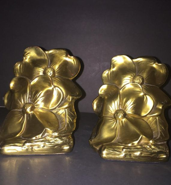 Dogwood Flower Cast Metal Bookends Heavy Solid PM Craftsman Brass Tone, Vintage Floral Design Original Label on Felt Bottom