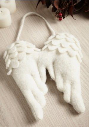 Large white felt angel wings