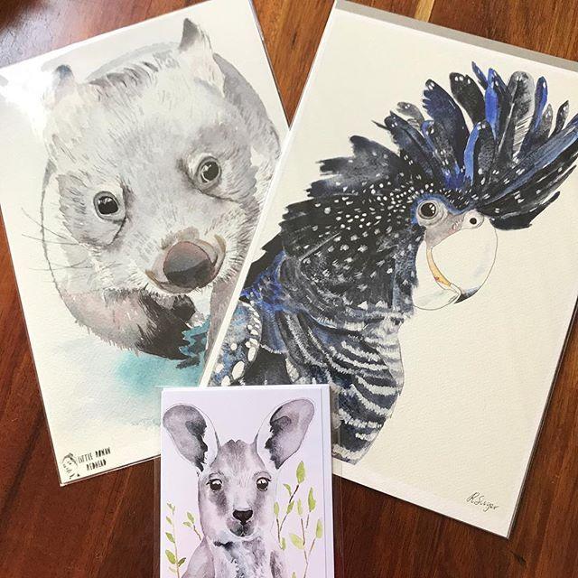 Pigment prints - wombat, black cockatoo