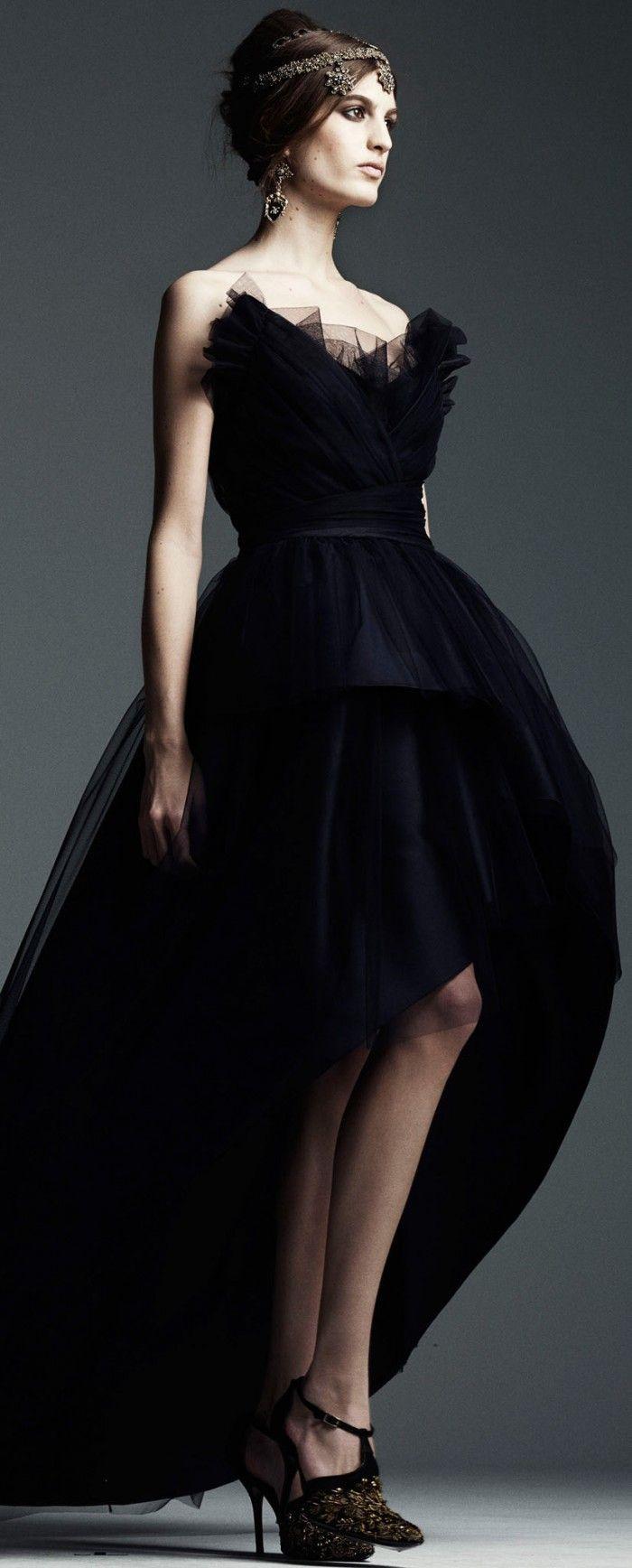 Alberta Ferretti Pre-Fall 2014 | black strapless high-low gown      jaglady