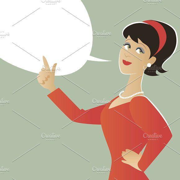 Woman and speech balloon by La Inspiratriz on @creativemarket