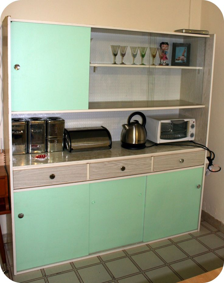 1950s Kitchen Cabinet   Redone... Looks Like What We Had Growing Up.