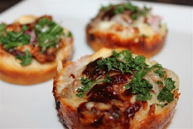 Bbq chicken pizza bites.   perfect for game night appetizers!