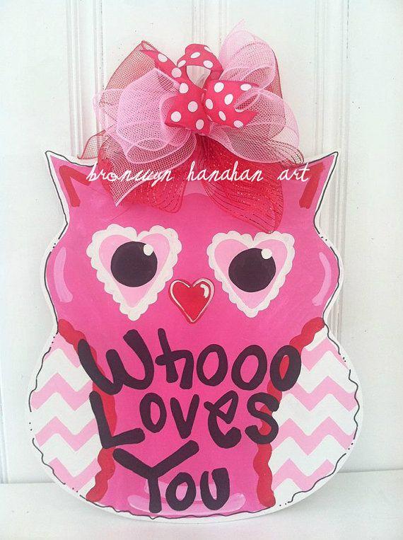 Valentine Owl Door Hanger Bronwyn Hanahan by BronwynHanahanArt, $35.00