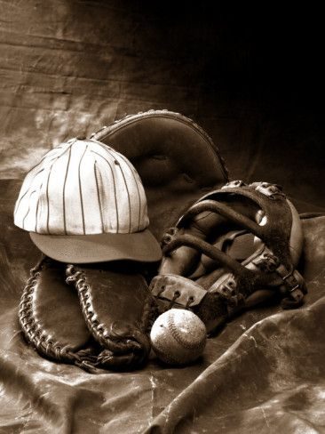 Close-up of Old Baseball Equipment Photographic Print, www.allposters.com