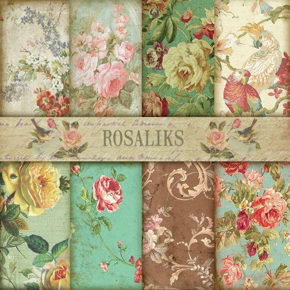 Jane Austen's. Floral Digital Paper Pack, Paper