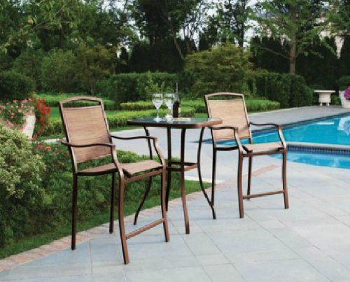 3 PC HIGH TOP BISTRO TABLE CHAIRS SET SLINGBACK MATERIAL FORTABLE outdoo