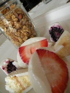 Yogurt Covered Fruit and Granola | OAMC from Once A Month Mom #breakfast #snack #freezer
