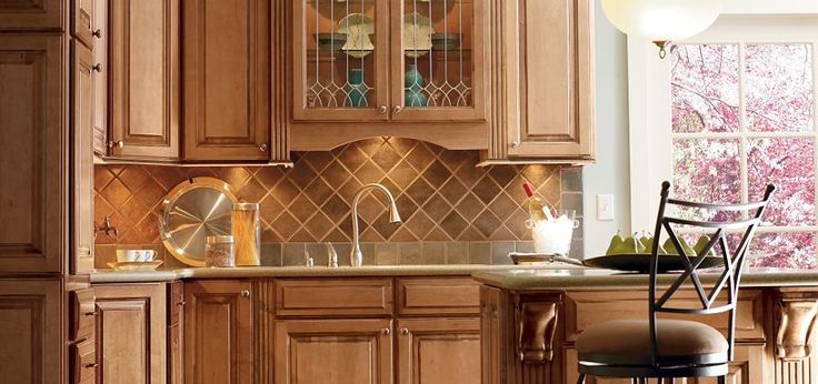 Plaza Maple Palomino Glaze by Thomasville Cabinetry Wood bottom &toasted almond top