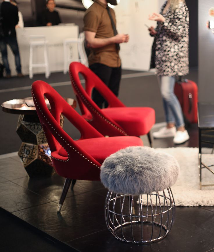 Scarlett Armchairs and Andy Stool by Ottiu at Euroluce 2017, Milano.