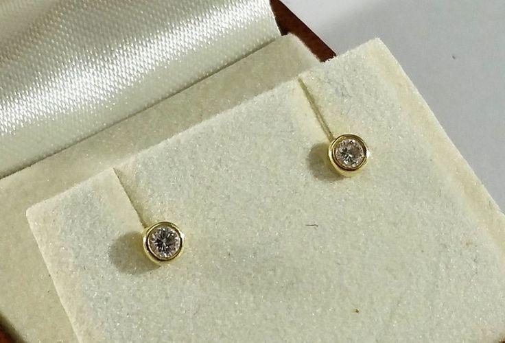 Vintage Ohrstecker - Ohrringe Ohrstecker Gold 585 Diamanten edel OR136 - ein Designerstück von Atelier-Regina bei DaWanda