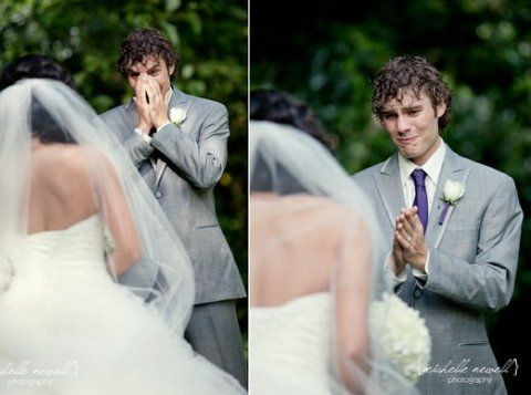 """A split second in time; the moment when the groom first lays eyes upon his beautiful bride. Known as a """"first look"""" photo, this new trend of focusing the camera lens directly on the groom's face as the bride comes into view captures the genuine emotion of this intimate moment between husband and wife. At Juliette Weddings, LLC, we believe that a picture truly is worth a thousand words."""