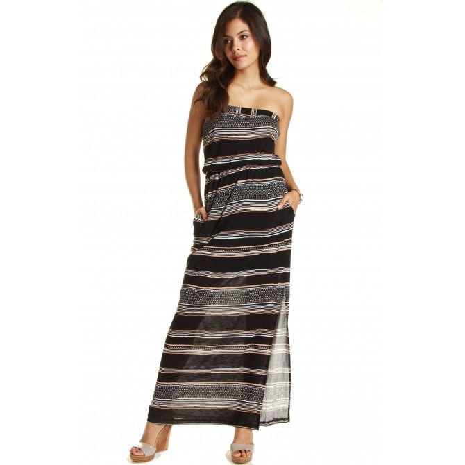 Splendid strapless maxi dress palm