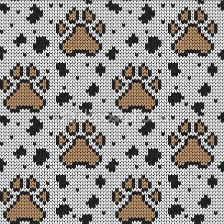 Örme seamless modeli hayvan yastıkları — Stok Vektör © galagalina19.gmail.com #97784810