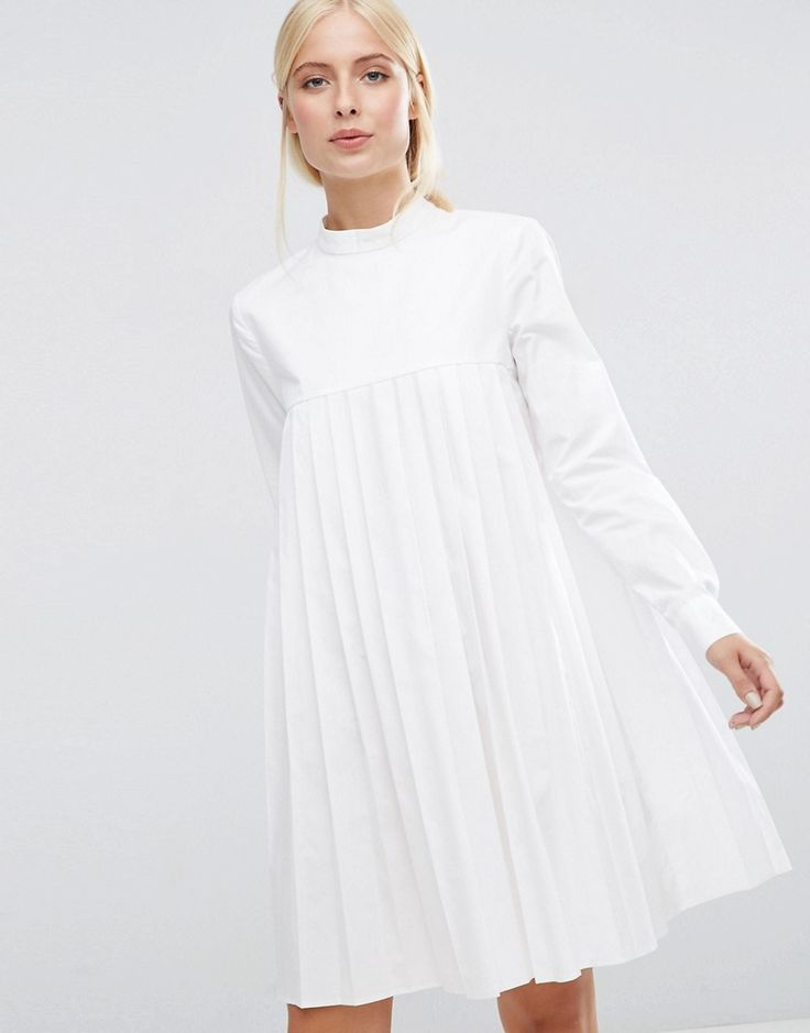 ASOS+Long+Sleeve+Cotton+Pleated+Dress