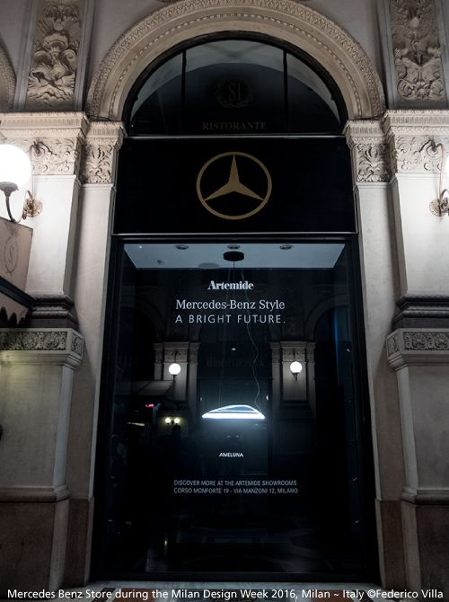 Back to the #MDW16 in pictures! The beautiful Mercedes-Benz ME Store with its Ameluna that has been displayed during the Milan Design Week 2016. To see #Ameluna now, come in our showrooms Via Manzoni and Monforte. © Federico Villa