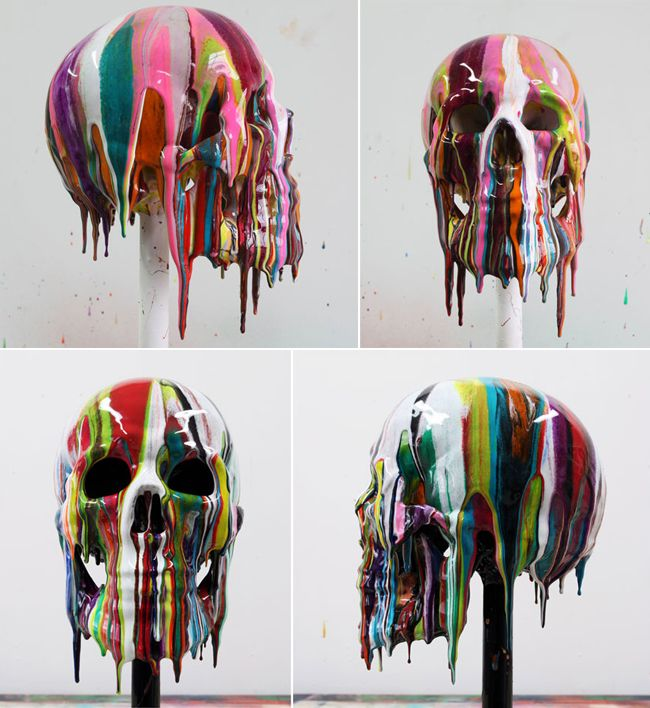 Markus Linnenbrink. SKULL 3 & 4 – lifesize painted teaching skull, 2011. Epoxy resin and pigments.