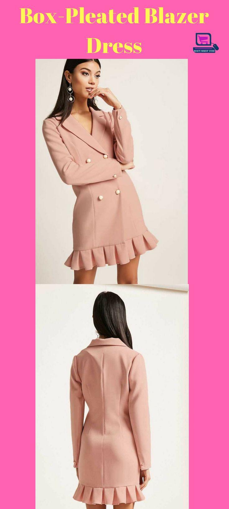 Box-Pleated Blazer Dress #dress #pleateddress #dresses #clothing #womenclothing #fashion #fashionjewelry