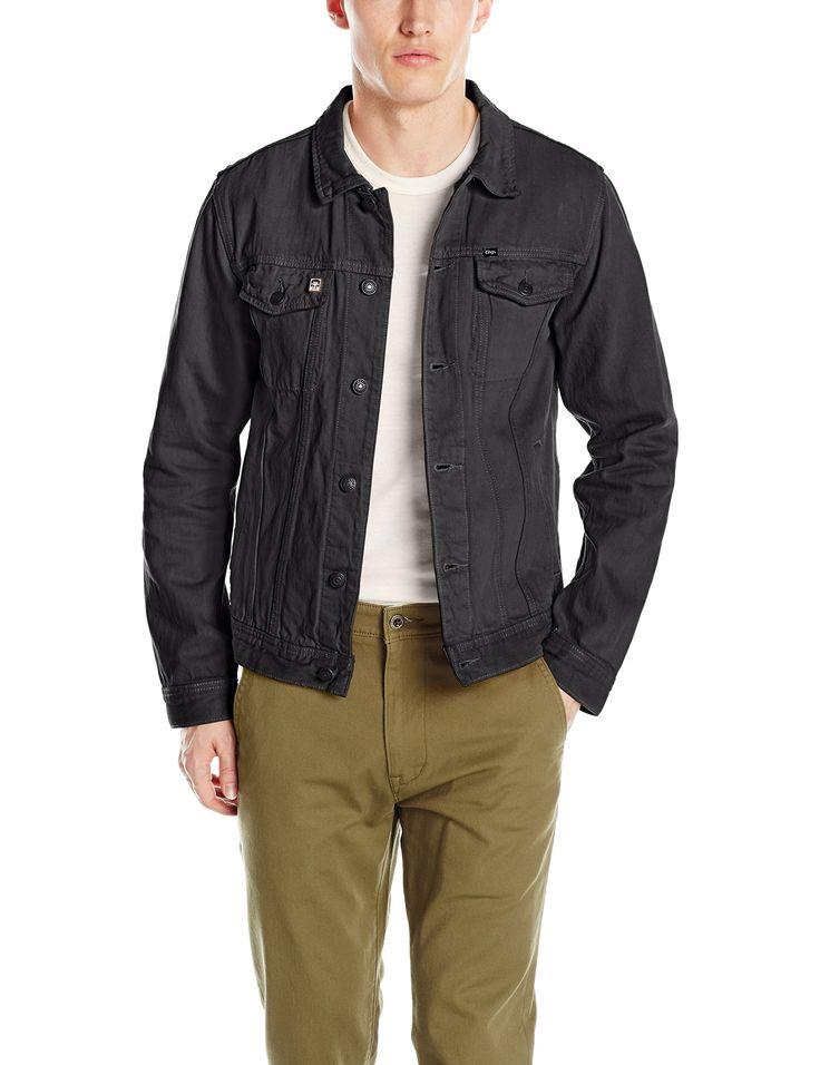 OBEY Men's Creeper Denim Jacket, Dusty Black, Large