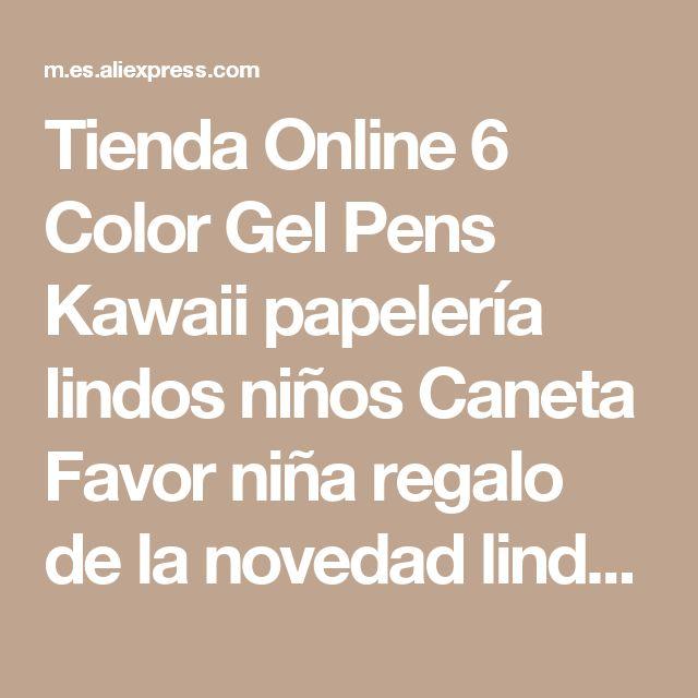 Tienda Online 6 Color Gel Pens Kawaii papelería lindos niños Caneta Favor niña regalo de la novedad linda útiles escolares W03 | Aliexpress móvil