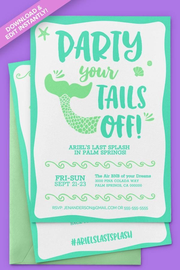 Mermaid 5x7 Invitations Instant Download Easily Editable And
