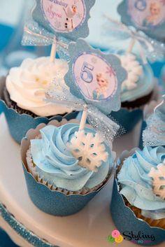 Cupcakes para fiesta de Frozen
