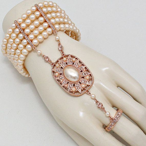 1920 S Flapper Great Gatsby Inspired Rose Gold Peach Big