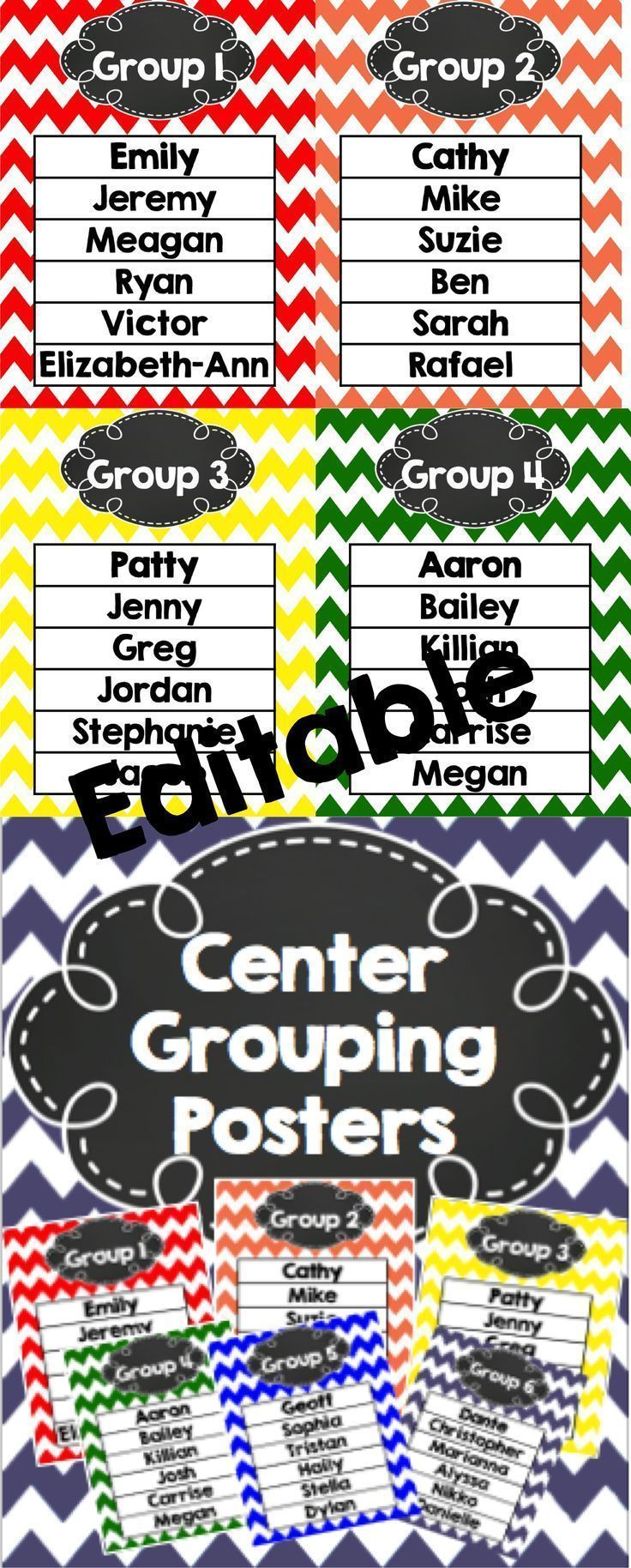 This is a set of 6 rainbow chevron group posters.  Type the names in or delete the print and just use a dry erase marker.