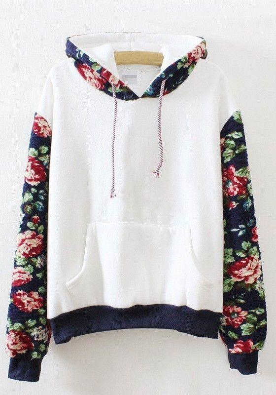 Sweat-shirt imprimé floral manches longues capuche lâche blanc