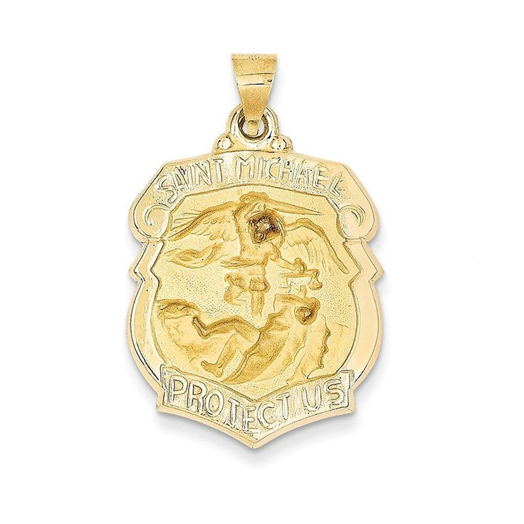 PriceRock 14K Gold Polished And Satin St. Michael Badge Medal Pendant * Be sure to check out this awesome product. (This is an affiliate link) #PendantsandCoins