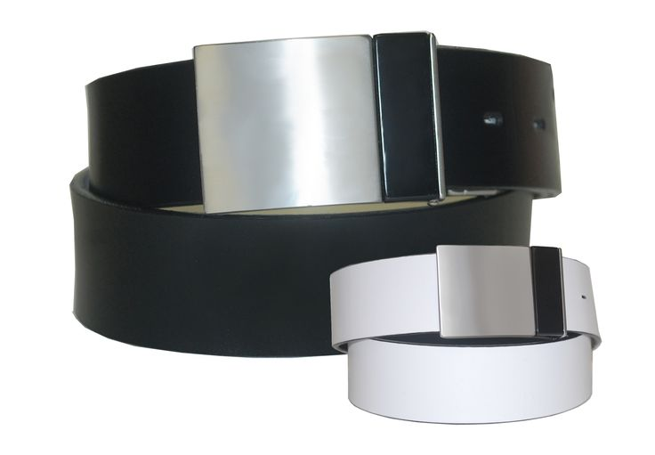 Reversible Leather Strap Belt with a Silver and Black Plaque Buckle - $65.00