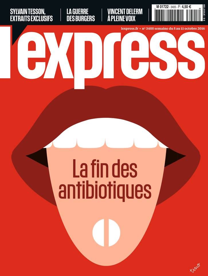 """Couverture de l'Express """"la fin des antibiotiques"""". N° 3405 du 5 octobre 2016"""