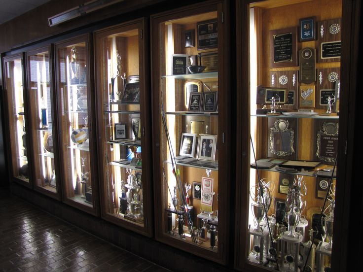 Trophy case outside of the gym.