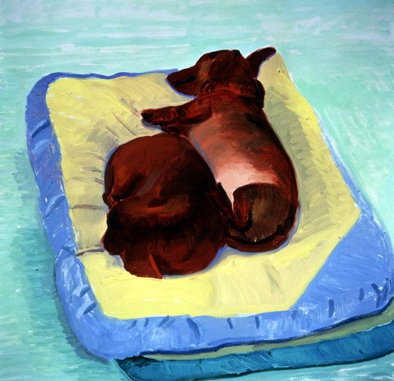 David Hockney, Dog Painting 22, 1995 oil on canvas, Paper: 28 x 29 in (71.1 x 73.7 cm), Framed: 29 1/2 x 30 1/8 in (74.93 x 76.7 cm), Private collection