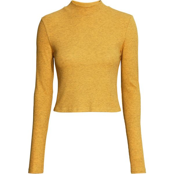 H&M Short polo-neck top ($12) ❤ liked on Polyvore featuring tops, crop top, shirts, mustard yellow, long sleeve turtleneck shirts, ribbed shirt, long sleeve shirts, longsleeve shirt and long sleeve turtleneck