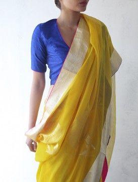 Yellow Chanderi & Zari Marigold Saree by Raw Mango