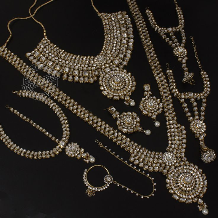 Ramsha Bridal Necklace + Earrings + Nose Ring + Earrings + Bracelet  by Indiatrend. Shop Now at WWW.INDIATRENDSHOP.COM