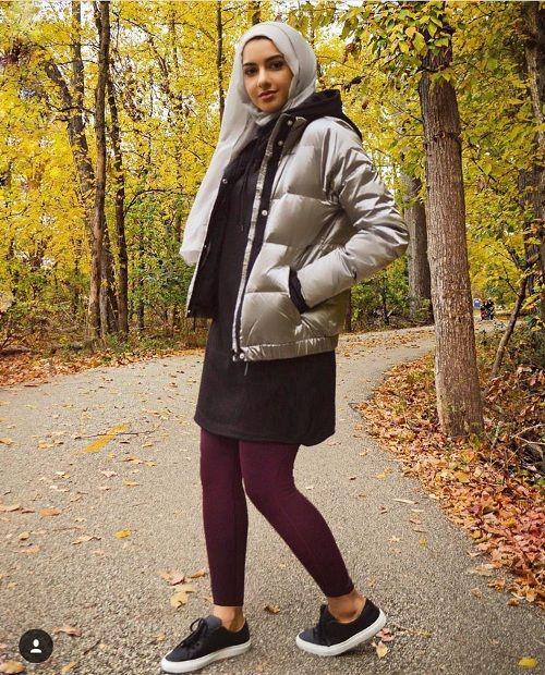 Puffer jacket with hijab-Fashionista winter hijab fashion – Just Trendy Girls
