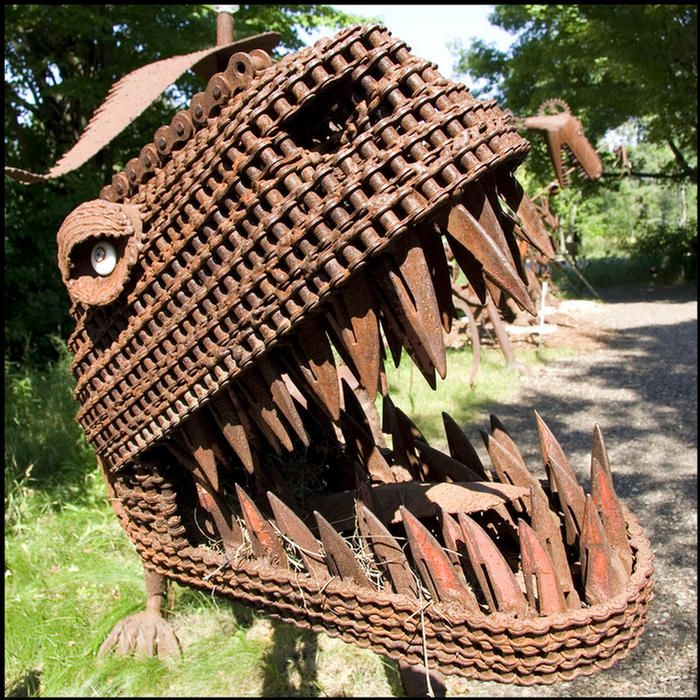 Recycled metal art.  Sue - is that you?