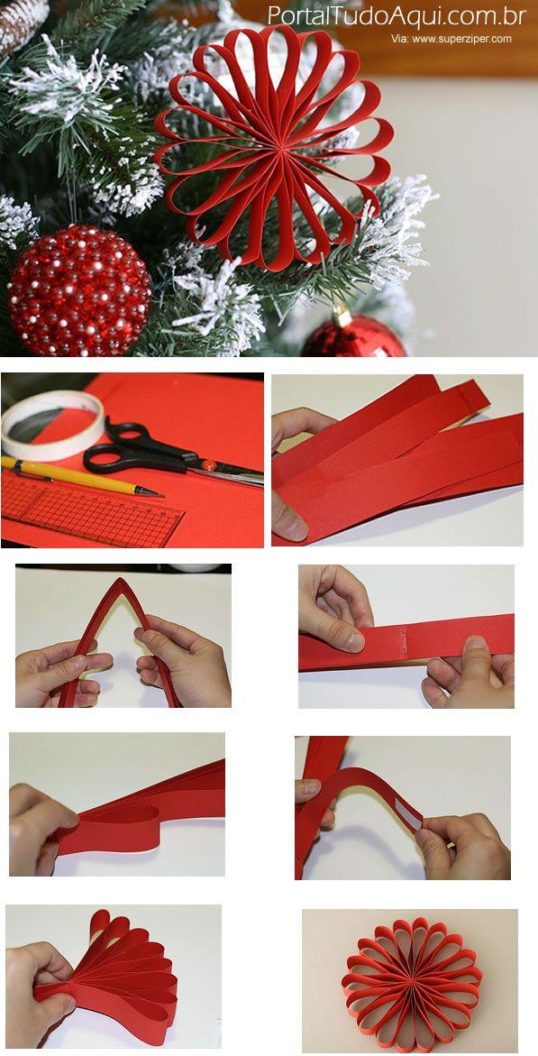 decoração-criativa-baratinha-simples-para-Natal-flor-vermelha-papel-passo-a-passo2