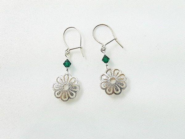 Girl's Jewelry, Earrings for Girl, Sterling Silver Earrings, Crystal Earrings, Christmas Gift for Girl, Gift Ready to Ship, Flower Earrings by modotikon on Etsy